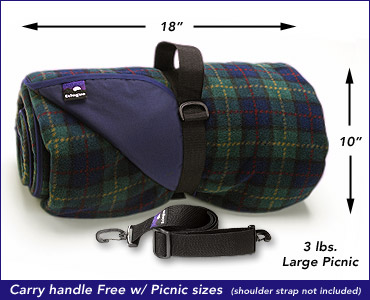 A carry strap is included with Go-Blanket Picnic Blankets.